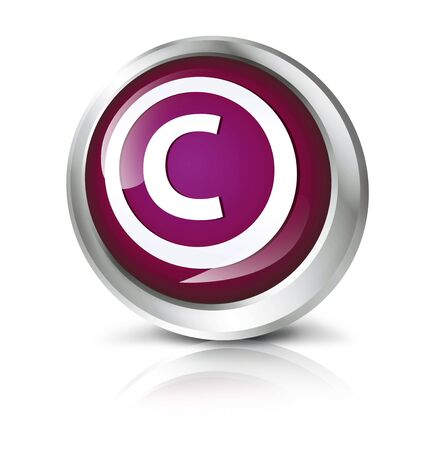 copyright symbol: Glossy icon or button with copyright symbol.