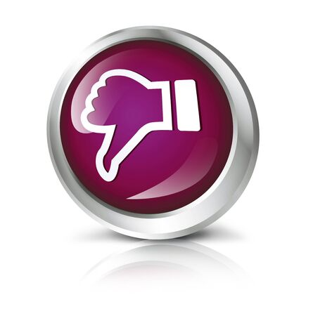 button down: Glossy icon or button with thumbs down symbol.