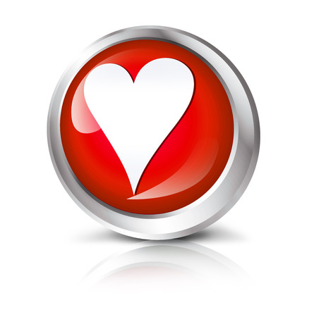 Glossy icon or button with heart shape symbol.