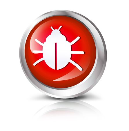 computer bug: Glossy icon or button with computer bug symbol.