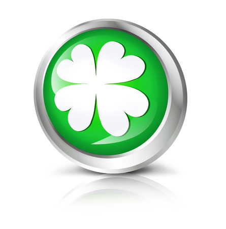 four leaf: Glossy icon or button with four leaf clover symbol.