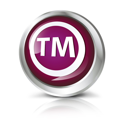 trademark: Glossy icon or button with Trademark symbol. Stock Photo