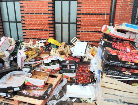 Heap of waste after a street market. Standard-Bild