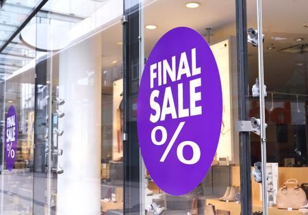 retail place: Final sale sign at a shop window.