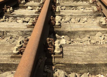 railroad tie: Railroad track, close-up.