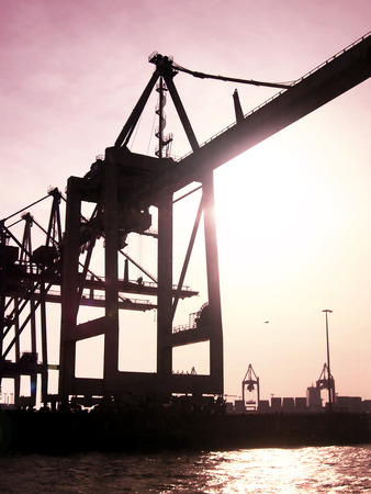 freight shipping: Harbor cranes at a container harbor, freight shipping scene at sunset or sunrise. Stock Photo