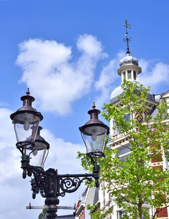 old town house: Old town house, dutch building exterior and antique streetlight.