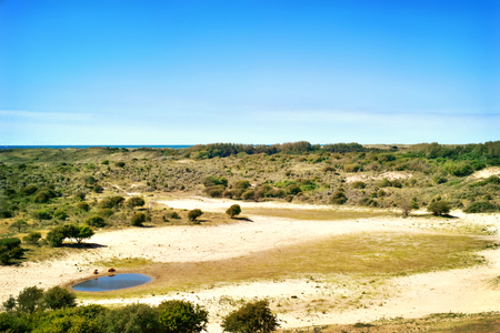 Savanna landscape with waterhole and panoramic view over the country.