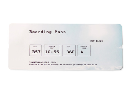 Boarding pass, flight ticket, isolated on white background.
