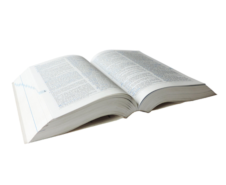 English dictionary, isolated on white background. Standard-Bild