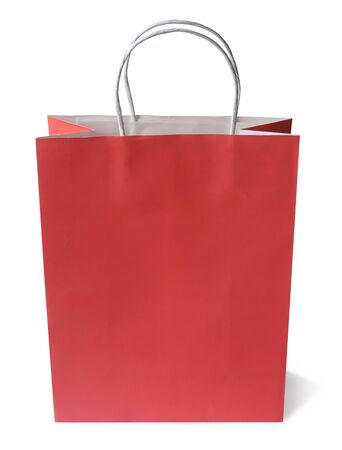 goodie: Red paper shopping bag, isolated on white. Stock Photo