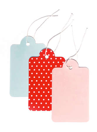Gift or price tags, isolated on white background. Stock Photo
