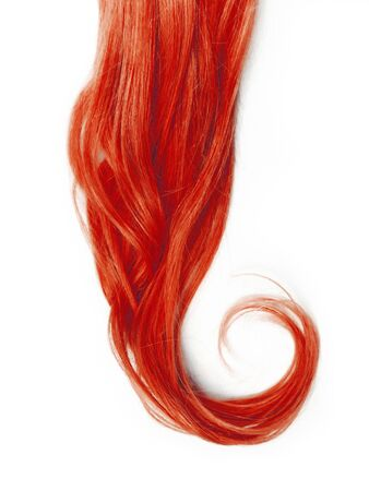 Red curly hair, isolated on white background. Standard-Bild