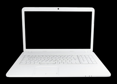 laptop keyboard: Blank white laptop or notebook, isolated on black background with copy space ..