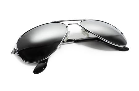 aviator: Black aviator sunglasses, isolated on white background.