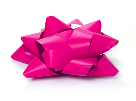 lazo rosa: Pink bow, side view. Isolated on white background, decorative design element.
