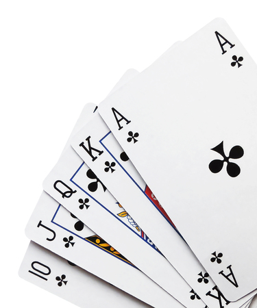 royal flush: Royal flush, playing cards, isolated on white background.