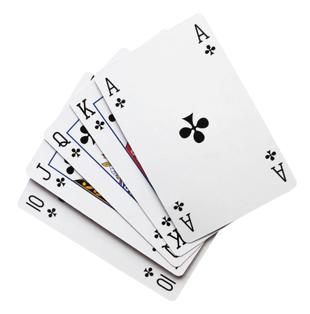 Royal flush, playing cards, isolated on white background.