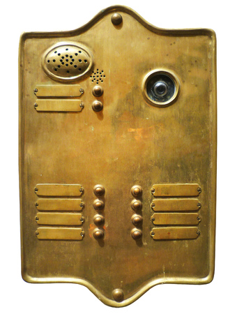 brass plate: Golden brass plate with name tags, entrance bell plate.