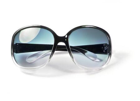 optical instrument: Blue sunglasses, modern glasses, isolated on white background. Stock Photo