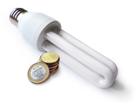 household fixture: Energy saving lamp or light bulb with euro coins, isolated on white background.