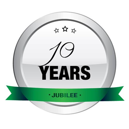 10 years: 10 Years jubilee seal or icon. Silver seal or button with stars and green banner.