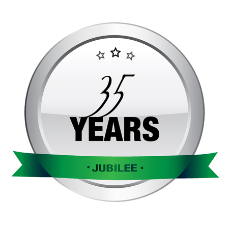 35: 35 Years jubilee seal or icon. Silver seal or button with stars and green banner.