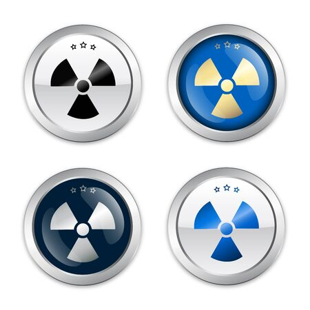 atomic symbol: Radioactive seal or icon with atomic symbol. Glossy silver seal or button