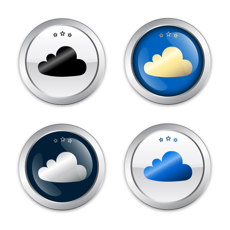 technolgy: Cloud seal or icon set. Glossy silver seal or button. Illustration