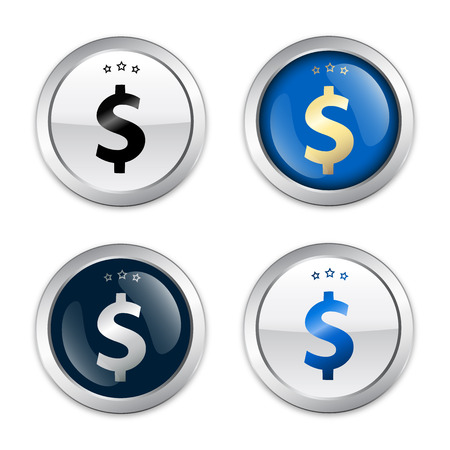 low prizes: Profit seals or icons with dollar symbol. Glossy silver seals or buttons.