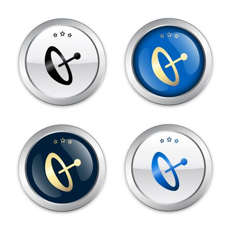 Reception seals or icons with satellite dish symbol. Glossy silver seals or buttons. Vectores