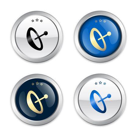 sellos de recepción o iconos con el símbolo de antena parabólica. Brillante sellos de plata o botones.