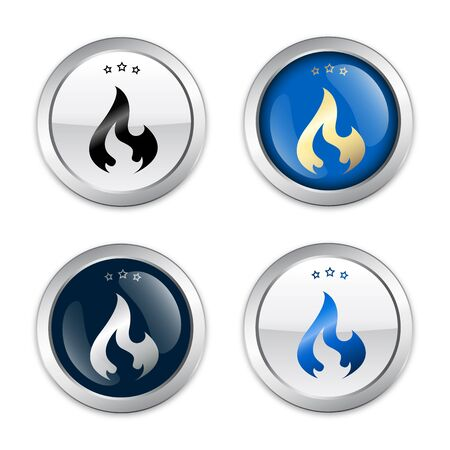 fleming: flammable seals or icons with flame symbol. Glossy silver seals or buttons.