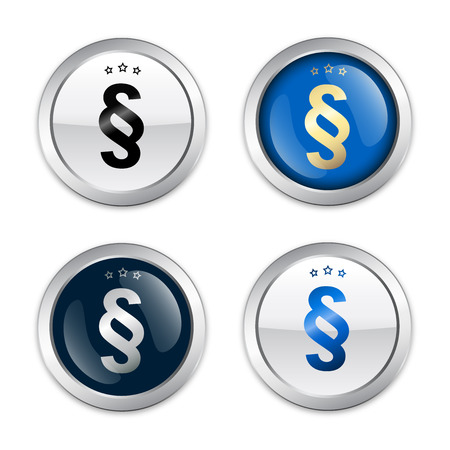 legacy: Paragraph seals or icons. Glossy silver seals or buttons with blue color. Illustration