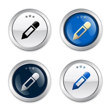 물개 또는 브러시 기호가있는 아이콘을 입력하십시오. 광택 은색 도장 또는 버튼