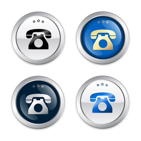 telephone icons: Communication seals or icons with telephone symbol. Glossy silver seals or buttons.