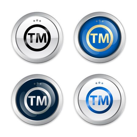 trademark: Registered trademark seals or icons. Glossy silver seals or buttons. Illustration
