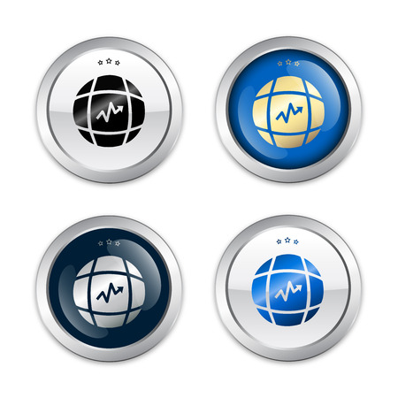 bourse: Growth seals or icons with world globe symbol. Glossy silver seals or buttons.