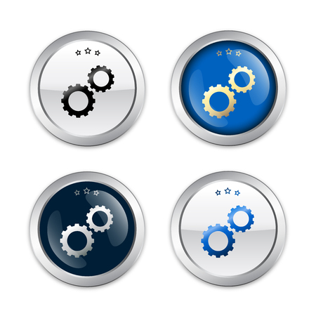 high technology: Quality seals or icons with gear symbol. Glossy silver seals or buttons. Illustration