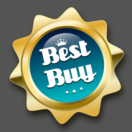 best buy: Best buy seal or icon with crown symbol. Glossy golden seal or button with stars and turquoise color.