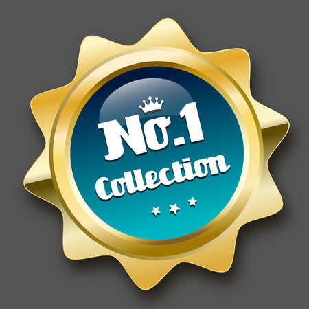 no1: No.1 collection seal or icon with crown symbol. Glossy golden seal or button with stars and turquoise color.