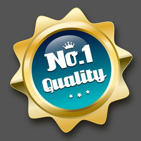 no1: No.1 quality seal or icon. Glossy golden seal or button with stars and turquoise color.