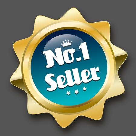 No. 1 seller seal or icon with crown symbol. Glossy golden seal or button with stars and turquoise color. Illustration