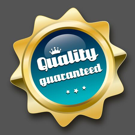 best quality: Quality guaranteed seal or icon with crown symbol. Glossy golden seal or button with stars and turquoise color.