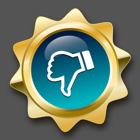 disagree: Low quality seal or icon with thumbs down symbol. Glossy golden seal or button with turquoise color.