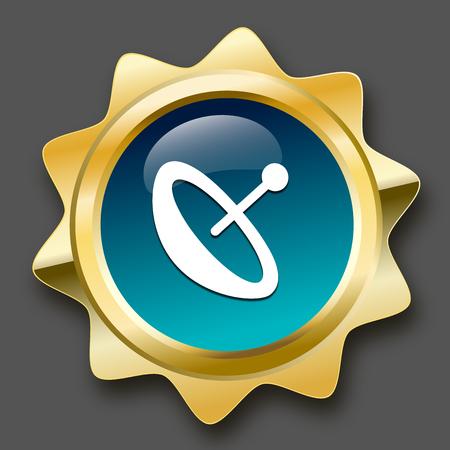sello de recepción o en el icono con el símbolo de antena parabólica. sello de oro brillante o el botón de color turquesa.