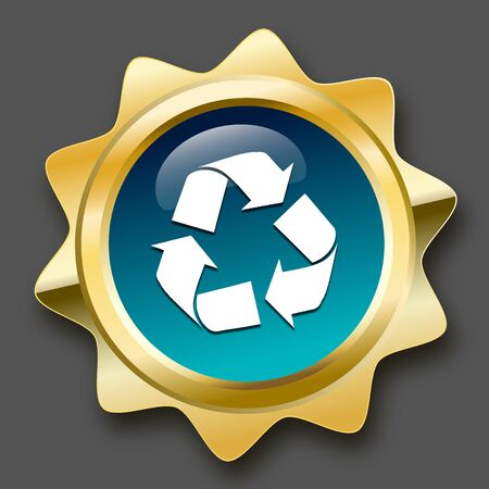 Recycling seal or icon with recycle symbol. Glossy golden seal or button with stars and turquoise color. Illustration