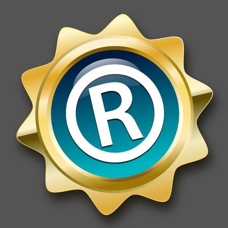 Registrada sello o un icono. sello de oro brillante o botón.