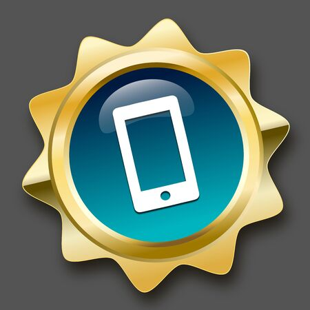 Communication seal or icon with smartphone symbol. Glossy golden seal or button. Illustration