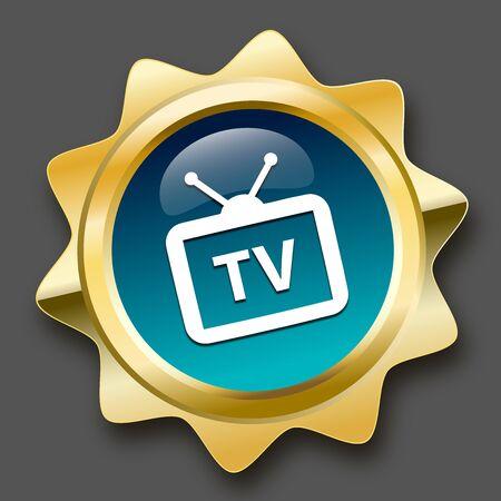 sello de recepción de la televisión o el icono con el símbolo de la televisión. sello de oro brillante o el botón de color turquesa.